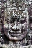 Bayon Temple Smiling Face. Details of Bayon temple Buddha carving Stock Photos