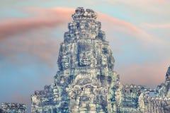 Bayon temple statues, Angkor, cross-process affect Royalty Free Stock Photos