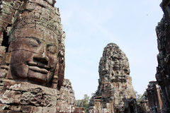 Bayon temple stone face. Angkor Wat, stone face on Bayon temple in Siem Reap, Cambodia Stock Images