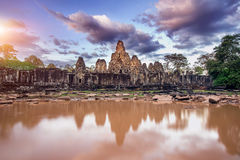 Free Bayon Temple With Giant Stone Faces, Angkor Wat, Siem Reap. Royalty Free Stock Image - 91010676