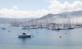 Bayona Sport port with fog Royalty Free Stock Photos