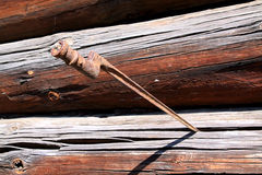 Bayonet. In wall of the wooden building stock images