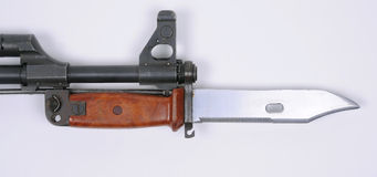 Bayonet on AK47 assault rifle. Russian type bayonet for the AK47 AKM rifle Stock Photos