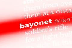 Bayonet. Word in a dictionary.  concept stock image