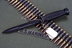 Bayonet, dog tags and ammunition belt on US MARINES uniform background. Bayonet, dog tags and ammunition belt on US MARINES uniform stock image