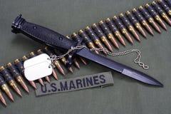 Bayonet, dog tags and ammunition belt on US MARINES uniform background. Bayonet, dog tags and ammunition belt on US MARINES uniform stock photos