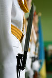 Bayonet strapped to the machine keeps soldiers in dress uniform Royalty Free Stock Photography