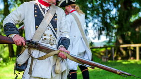 Bayonet training with the French army in the modern era. Close-up slow motion footages of a French army on a training with bayonet from the modern era on sunny stock footage