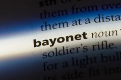 Bayonet. Word in a dictionary.  concept royalty free stock image