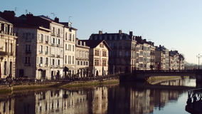 Bayonne Baione Touristic Landmark Riverside. Old Buildings and Nive river City Center Stock Photography