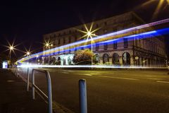 Bayonne Mairie car light trails at night, France royalty free stock image
