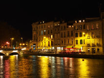 Bayonne, october 2013, Nive riverside at night, France Royalty Free Stock Image