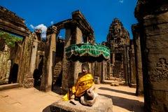 Bayontempel Angkor Thom Kambodja Stock Foto's