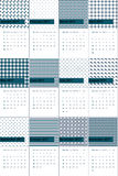 Bayoux зеленого цвета и сини глубокого моря покрасило геометрический календарь 2016 картин Стоковое фото RF