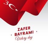 Bayrami di Zafer Victory Day Turkey 30 agosto bandiera d'ondeggiamento Vettore Fotografia Stock