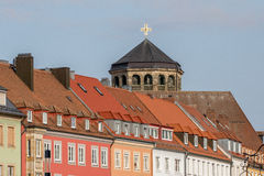 Bayreuth (Germany - Bavaria),  Orthogonal church tower. View along the old market place towards the orthogonal church tower of the old palace (Altes Schloss) in Royalty Free Stock Photos