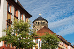 Bayreuth Germany - Bavaria,  Orthogonal church tower. View along the old market place towards the orthogonal church tower of the old palace Altes Schloss in Stock Photo