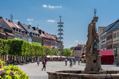 Bayreuth old town maypole - marketplace with neptune fontaine Royalty Free Stock Images