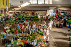 Bayreuth - Weekly market Rotmainhalle. Weekly market in the Rotmainhalle in Bayreuth Stock Photos
