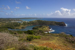 Bays of Antigua. Rocky coastline, ocean and bays on Caribbean island of Antigua Royalty Free Stock Photos
