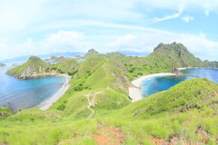 Bays on Padar Island. Famous bays on Padar Island with rocky mountain and grass hills - Komodo National Park, Nusa Tengara Timur - NTT, Indonesia Stock Photography