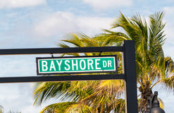 Bayshore Drive street sign in Fort Lauderdale, Florida Royalty Free Stock Photo