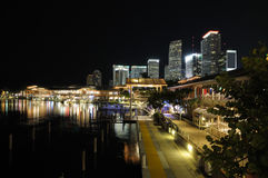 bayside市场迈阿密晚上 免版税库存图片