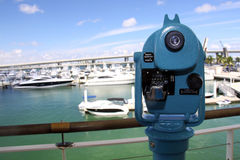 Bayside Lookout. Lookout machine at Bayside's boat marina, downtown Miami Florida Stock Image