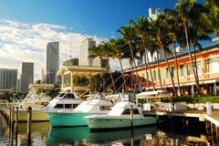 Bayside Marina. Boats docked at the Bayside Marina in Miami stock photography