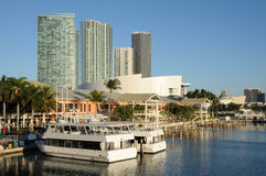 Bayside Marina in Downtown Miami Stock Images
