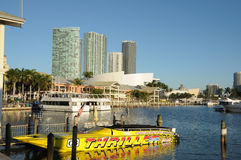 Bayside Marina, Miami. Yellow speedboat at the Bayside Marina, Downtown Miami, Florida USA. Photo taken at 14th of November 2009 Stock Image