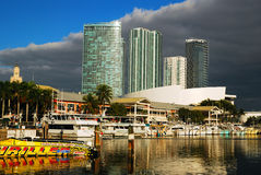 Bayside Marina. The Bayside Marina is a shopping, dining and entertainment complex on the Miami waterfront Stock Photography