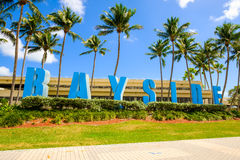 Bayside Marketplace Miami. Miami, FL USA - March 1, 2017: Bayside Marketplace in downtown Miami, a outdoor shopping mall along Biscayne Bay, is a popular tourist Royalty Free Stock Photos