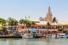 Bayside Marketplace in Miami, Florida. MIAMI, FLORIDA, USA - May 5, 2014 - The Bayside Marketplace in Miami, Florida Royalty Free Stock Photos