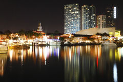 Bayside, Miami Skyline. Miami skyline from Bayside area at night. Biscayne Bay stock photo