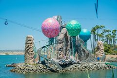 Bayside Skyride i den berömda SeaWorlden royaltyfri foto