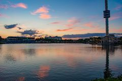 Bayside Stadium and Sky Tower on colorful sunset scenery at Seaworld in International Drive area .