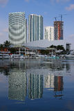 Bayside View. Overlooking Downtown Miami with reflection Stock Images