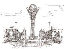 Bayterek塔在阿斯塔纳 库存图片
