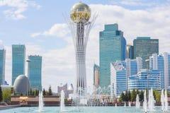 Bayterek Tower and Astana`s skyline royalty free stock photos