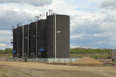 Baytex Bitumen tanks, Alberta, Canada Stock Photo