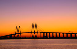 Baytown Bridge. Cable style bridge with lights and an evening sunset sky Stock Photography