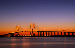 Baytown Bridge. Cable style bridge with lights and an evening sunset sky Royalty Free Stock Photo