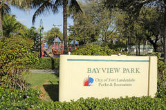 Bayview Park Sign on Bayview Drive Royalty Free Stock Photo