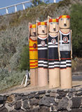 The Baywalk Bollards mid-1990s which reflect local history were created with old timber and piles from a city pier royalty free stock image
