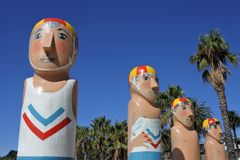 Baywalk Bollards sculptures in Geelong Melbourne Victoria Australia. Baywalk Bollards, a colourful sculptures chronicling Geelong city history southwest of royalty free stock image