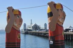 Baywalk Bollards sculptures in Geelong Melbourne Victoria Australia stock photo