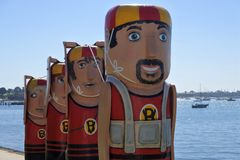 Baywalk Bollards sculptures in Geelong Melbourne Victoria Australia stock photos