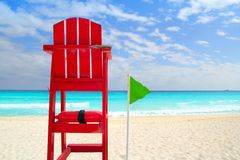 Baywatch roter Sitz tropisches Karibisches Meer Lizenzfreies Stockbild