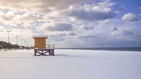 Baywatch tower in snowy beach Stock Images